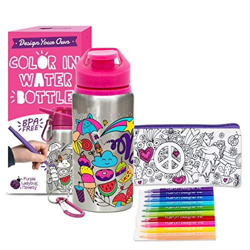 Personalized Kids Water Bottle (Color Your Own Water Bottle for Girls with 10 Bright Markers, Rhinestone Gem Stickers Plus a Bonus Pencil Case! BPA Free Kids Water Bottle! Cute Gift for Girl, Fun DIY)