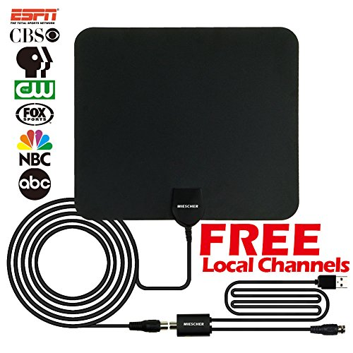 HDTV Antenna, MIESCHER Indoor Amplified Digital TV Antenna with Detachable Amplifier Signal Booster (1080P / VHF/UHF / 50 Miles Range) and 10ft Coaxial Cable, Local Channels for Life - Black