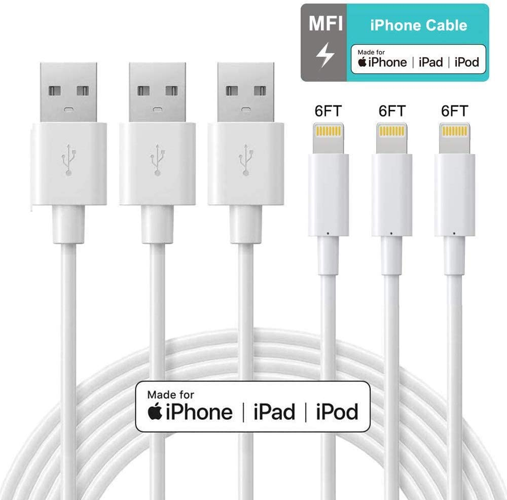 Lightning Cable - ilikable MFi Certified iPhone Cable - 3Pack 6Ft iPhone Charger Cord Compatible with iPhone 11 Pro XR Xs Max X 8Plus 7Plus 6S Plus 6 5S iPad and More - White