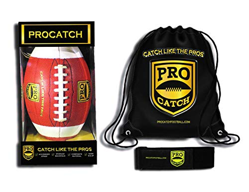Pro Catch Football (White) Official- Training Aid to Improve Catching Skills- Free Backpack.