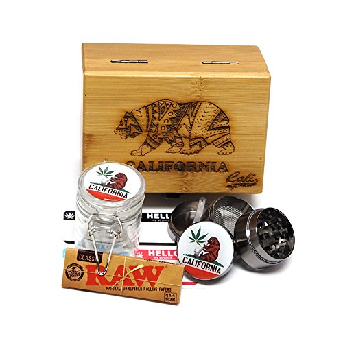 """California Laser Etched Sacred Geometry Stash Box, 1.6"""" Zinc Alloy Grinder, Small Stash Jar - All in ONE Box Package Item# WBCS111617-3"""