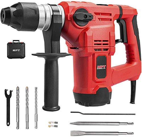MPT 1-1/4 Inch SDS-plus 12 Amp Heavy Duty Rotary Hammer Drill,3 Functions Vi'b'ration control Reverse and Variable Speed,Include 3 Drill Bits,Grease,Chisel with Case