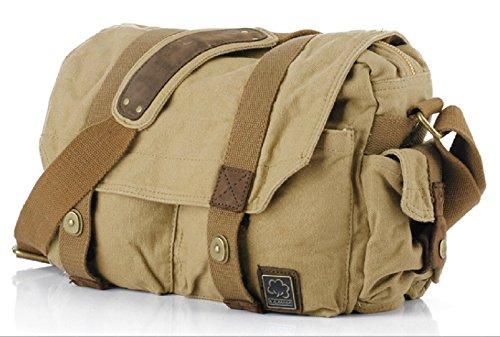 Klassische Herrn Vintage Canvas Tasche Einzel-Schulter Cross-Body Messenger Tasche mit durable Leder (Khake)