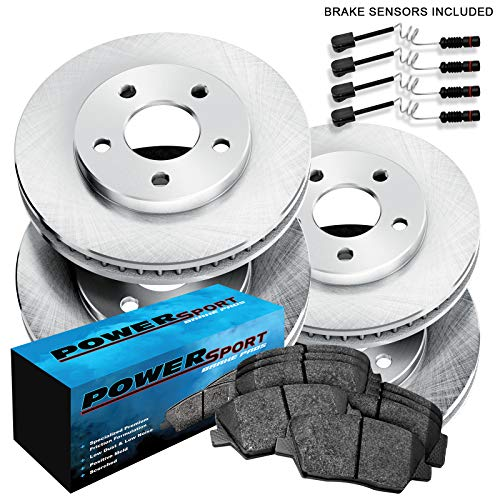 Fit Mercedes-Benz E320, E420 Front Rear Blank Brake Rotors+Ceramic Brake Pads