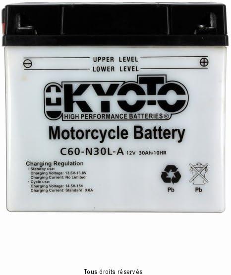 Batterie Moto KYOTO Y60-n30l-a L 187mm W 130mm H 170mm 12v 30ah Acide 1,7l