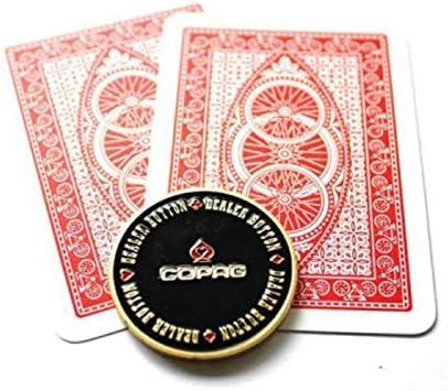 DIVISTAR Carte de Gardien de Poker en m/étal plaqu/é Or avec /étui Rond en Plastique