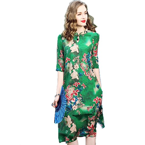 Printed Casual Silk Half Sleeve Dress Women`S Dresses cotyledon Split q1w6xnPBWE