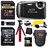 Fujifilm FinePix XP130 – Silver, 32GB SD Memory Card, Tripod, Case and Floating Strap Accessory Bundle