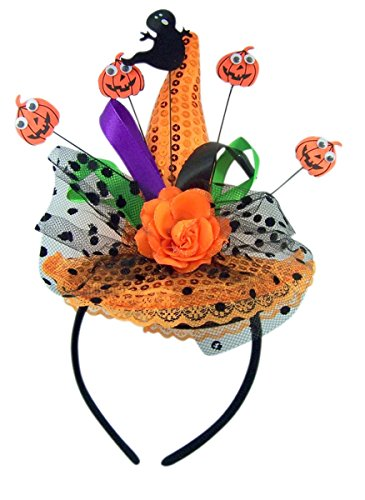 Ghost and Pumpkin Orange Sequins Witch Hat Halloween Headband -