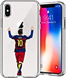 ETERINS Cases Ultra Slim [Crystal Clear] [Hardwood Series] Soft Transparent TPU Case Cover - Leo Messi for iPhone XR