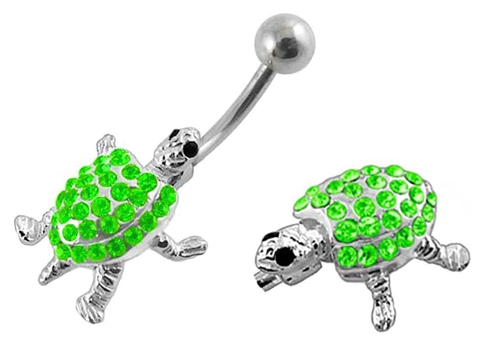 Lt Green Turtle w// Moving legs /& tail SOO CUTE Belly navel ring 14g Shiney