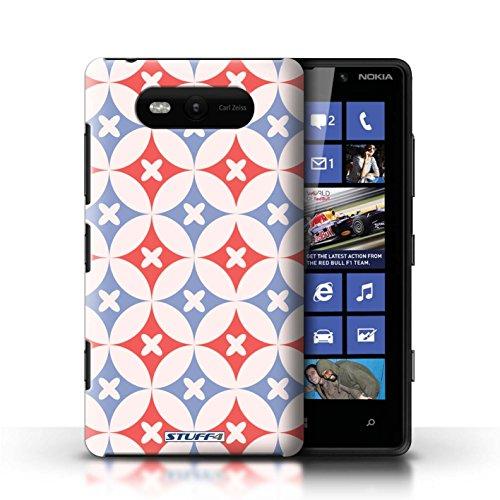 Etui / Coque pour Nokia Lumia 820 / Rouge / Bleu conception / Collection de Kaléidoscope