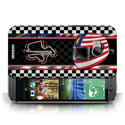 Etui / Coque pour HTC One/1 M8 / Malaisie conception / Collection de F1 Piste Drapeau