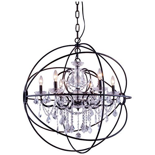 (Elegant Lighting 1130 Geneva Collection 6-Light Pendent Lamp with Royal Cut Crystals, 32