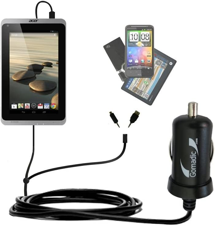 Gomadic Dual DC Vehicle Auto Mini Charger Designed for The Acer Iconia A1-830 - Uses TipExchange to Charge Multiple Devices in Your car
