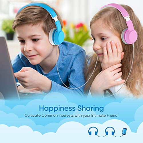 c904e76a7a3 iClever HS15 Kids Headphones - Wired Headphones for Kids Stereo Sound  Adjustable Metal Headband Microphone Foldable