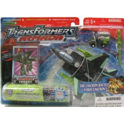 Transformers Armada Robots In Disguise 6 Inch Action Figure - Decepticon Thrust with Inferno Mini-Con