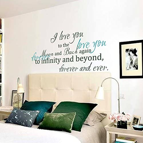 Amazon Com Digtour Wallart Love You Forever Vinyl Wall Decal Monogram Wall Quote Love Love You Forever Teal The Rest Words Dark Green Home Kitchen