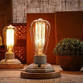 Vintage Industrial Table Lamp Edison Bulb Ceramic Wood