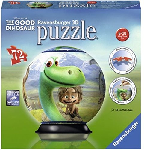 Ravensburger The Good Dinosaur 72 Piece 3D Jigsaw Puzzle Ball for Kids and Adults - Easy Click Technology Means Pieces Fit Together - Ravensburger Ball Puzzle