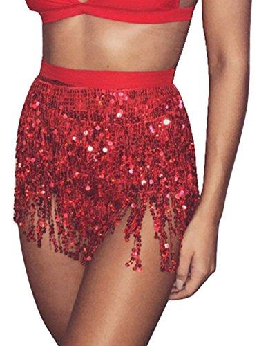 [해외]글래머커 여성용 여름 비치 랩 스팽글 술 술 미니 스커트 벨리 댄스 엉덩이 스카프 벨트/Glamaker Women`s Summer Beach Wrap Sequins Tassel Mini Skirts Belly Dance Hip Scarf Belt