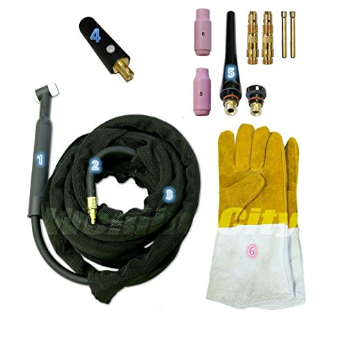 Tig Cooled Torches - WeldingCity TIG Welding Torch 200A 25-ft Flex-Head Air-Cool WP-26F Replacement for Lincoln PTA-26 w/Gift
