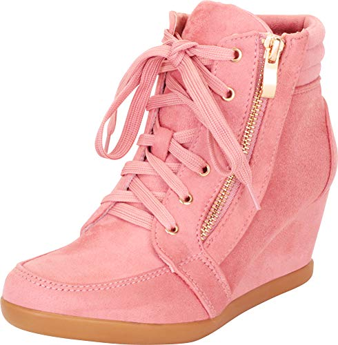 Cambridge Select Women's Lace-up Zipper Wedge Fashion Sneaker,5 B(M) US,Dusty Pink
