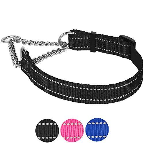 CollarDirect Martingale Dog Collar Training Adjustable Stainless Steel Chain Reflective Nylon Pet Choke Collars for Medium Large Dogs (L, Neck Fit 16-24, Black)