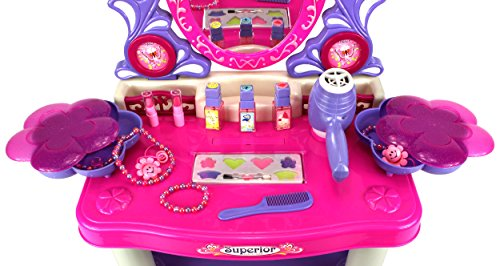 Velocity Toys Beauty Queen Dresser Pretend Play Battery Operated Toy Beauty Mirror Vanity Play Set w/ Flashing Lights, Music, Accessories