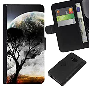 HTC One M9 , la tarjeta de Crédito Slots PU Funda de cuero Monedero caso cubierta de piel ( Moon Tree Planet Alien World Nature)