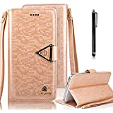 Bonice for Samsung Galaxy Note 5 Wallet Case Luxury Premium Bling Glitter Book Style [Wrist Strap] Phone Case PU leather Magnetic Closure Flip Stand Anti-scratch Cover Skin + Metal Stylus Pen - Brown