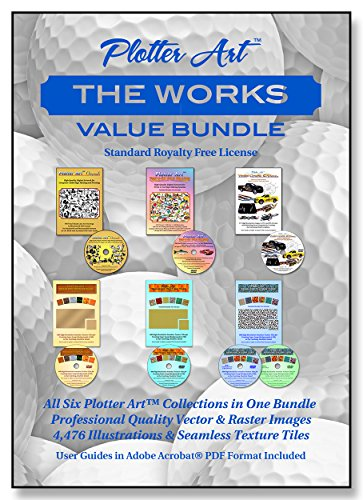 Plotter ArtTM The Works Value Bundle, 6 Collections, 4,776 Professional Quality Illustrations & Seamless Texture Tiles with PDF User Guides & Image Galleries - Standard Royalty Free License