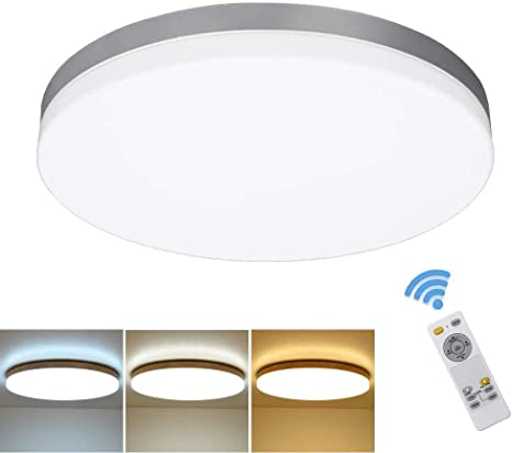 Amazon Com Dllt 24w Modern Dimmable Led Flushmount Ceiling Light Fixture With Remote 13 Inch Round Close To Ceiling Lights For Bedroom Kitchen Dining Room Lighting Timing 3000k 6000k 3 Light Color Changeable Home Improvement