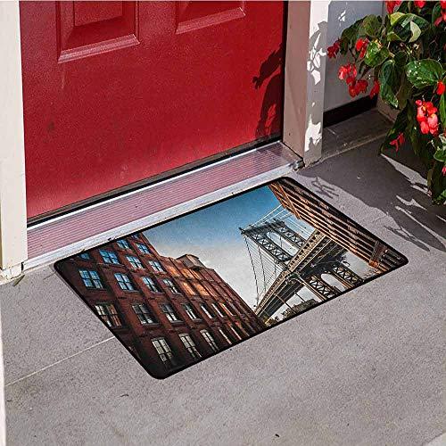 (GloriaJohnson New York Front Door mat Carpet Manhattan Bridge Seen from Narrow Alley Island Borough Globally Influential Town NYC Machine Washable Door mat W23.6 x L35.4 Inch Blue Red)