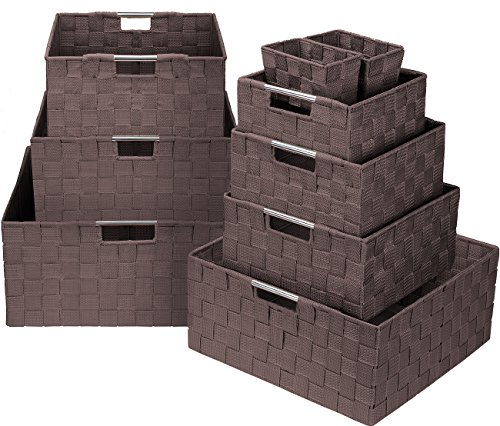 Sorbus Box Bin Container Tote Cube Set Stackable Storage Basket Woven Strap Shelf Organizer Built-in Carry Handles Chocolate ()
