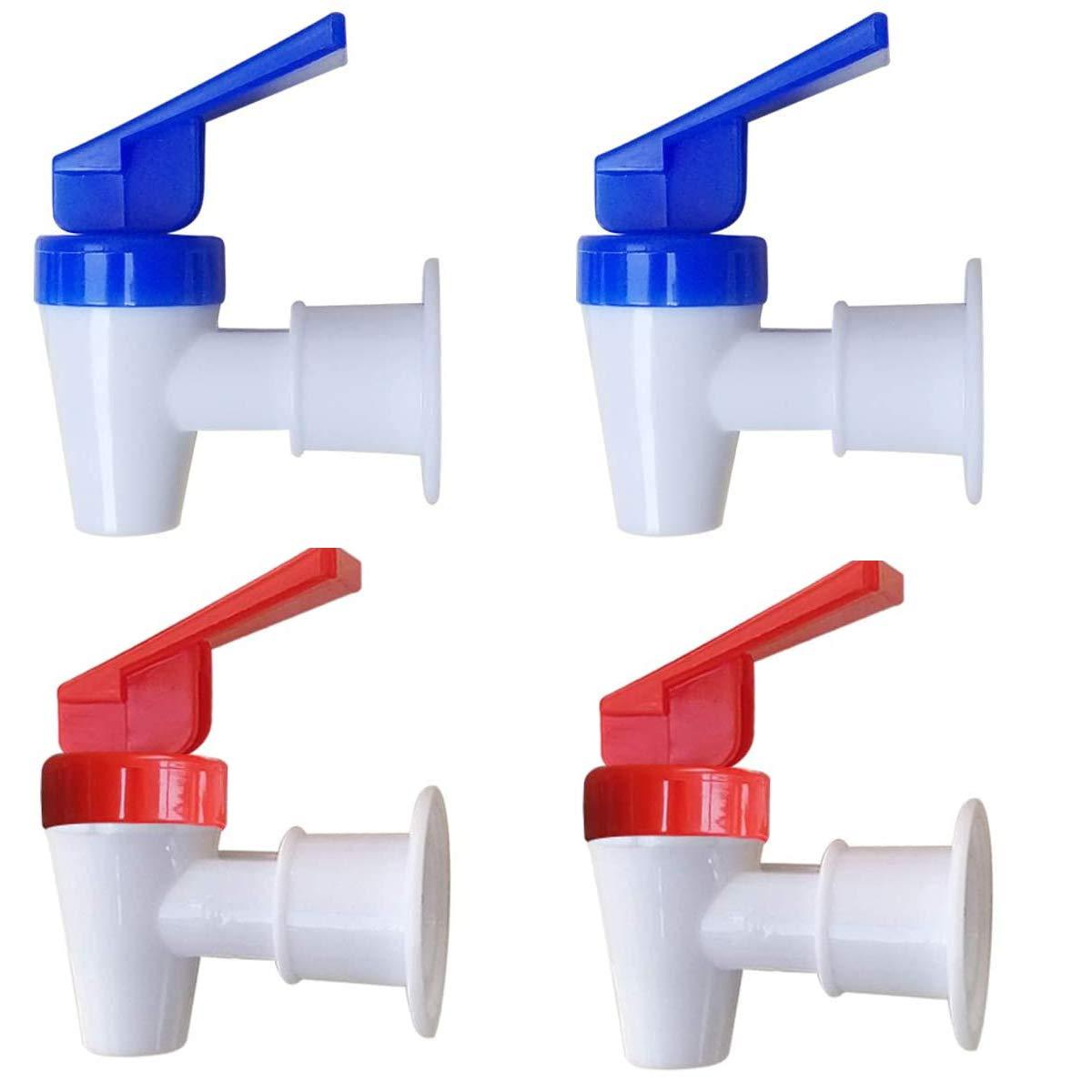 Replacement Cooler Faucet, Internal Thread Spigot of Water Filter Dispenser,Reusable Spigot Spout Water Beverage Lever Pour Dispenser Valve Water Crock Water Tap,4 Pieces,Blue/Red