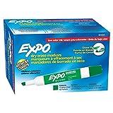 EXPO Marker Dry-Erase, Low Odor Dry Erase Marker, Chisel Tip, 12 Pack, Green (1825973)