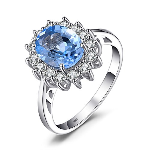 JewelryPalace Natural Gemstones Blue Topaz Birthstone Halo Solitaire Engagement Rings For Women For Girls 925 Sterling Silver Ring Princess Diana William Kate Middleton Size 8 Aquamarine Blue Topaz Ring