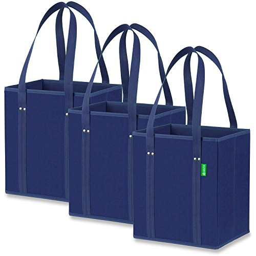 Reusable Grocery Shopping Box Bags (3 Pack - Blue), Premium Quality Heavy Duty Tote Bag Set with Extra Long Handles & Reinforced Bottom. Foldable, Collapsible, Durable & Eco Friendly (Box Bag Tote)