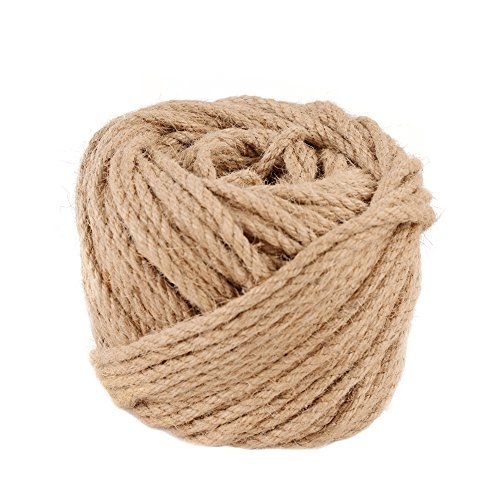 (5mm x 50m(about 55 yd)) Natural Jute Twine Macrame Best Arts Crafts Gift Twine Christmas Twine DIY Industrial Packing Materials Durable String for Gardening Applications