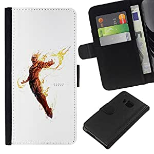 NEECELL GIFT forCITY // Billetera de cuero Caso Cubierta de protección Carcasa / Leather Wallet Case for HTC One M7 // Antorcha Humana
