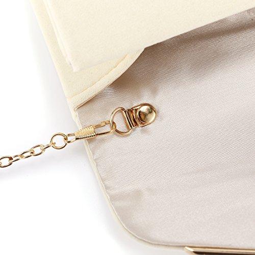 Anladia - Bolso de Mano Cartera de Mano con Cadena Larga 116cm para Mujer para Fiesta Boda Tipo Clutch Tipo Sobre Elegante Satén Amarillo ligero