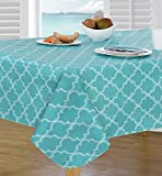 Everyday Luxuries by Newbridge Peyton Geo Flannel Backed Indoor Outdoor Vinyl Table Linens, 52-Inch by 70-Inch Oblong (Rectangle) Tablecloth, Bright Turquoise