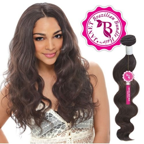 (Janet Unprocessed Brazilian Virgin Remy Human Hair Weave Bombshell Natural Body Wave (14-16