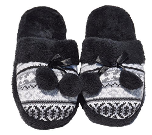 Bdshoes Top Quality Black Womans Pompom Plush Faux Fur Fleece Lined No Slip Rubber Sole Comfy House Warm Washable Slippers Shoes Easter Basket Stuffer Gift Idea For Women Teen Girl (Size 5, (Top Quality Rubber)