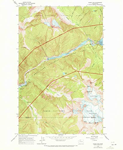 YellowMaps Diablo Dam WA topo map, 1:24000 Scale, 7.5 X 7.5 Minute, Historical, 1963, Updated 1972, 26.8 x 22.1 in - Paper