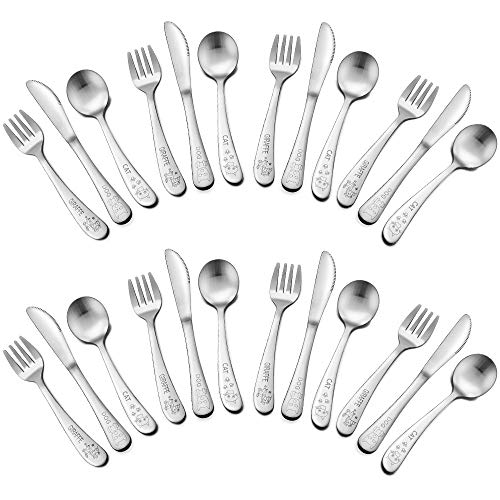(TeamFar Toddler Utensils 24 Piece, Stainless Steel Kids Utensils Cutlery Silverware Set, Includes 8 Forks, 8 Knives, 8 Spoons, BPA Free & Healthy, Cute Animal Print & Dishwasher)