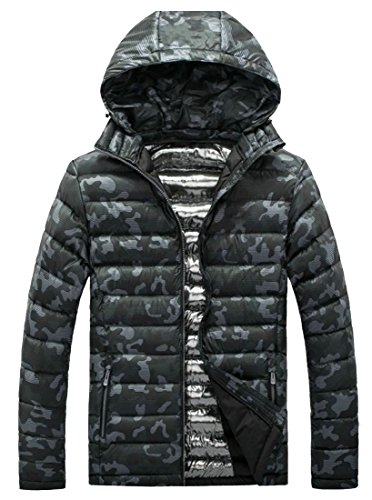 M&S&W Men's Lightweight Hooded Camouflage Quilted Packable Down Coat Jacket Gery
