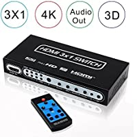 AVENK 3x1 4K HDMI Switch with Audio Extractor Optical SPDIF RCA L/R Out Remote Control and Power Adapter Support v1.4 1080P 3D ARC EDID