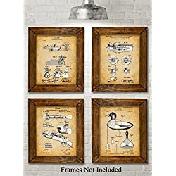 Original Duck Decoys Patent Art Prints - Set of Four Photos (8x10) Unframed - Great Gift for Duck Hunters